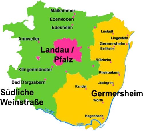 Landkarte der Region Südpfalz
