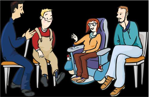 In einer kleinen Gruppe unterhalten sich Personen miteinander