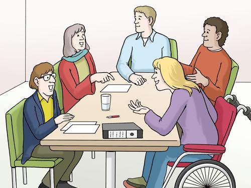 Menschen in einer Arbeitsgruppe diskutieren miteinander