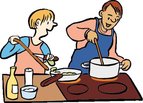 Ein Mann und eine Frau kochen zusammen