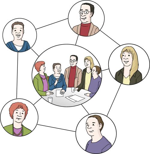 Verschiedene Menschen bilden gemeinsam ein Netzwerk