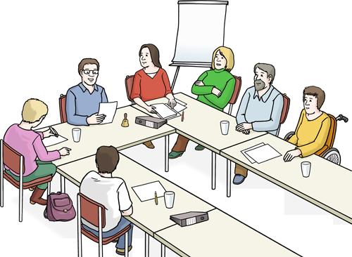 Menschen mit und ohne Behinderung halten befinden sich gemeinsam in einer Sitzung